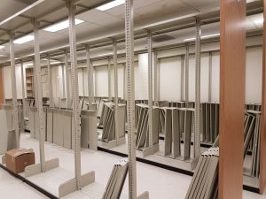 U of S Science Library lower level renovation.  The old shelves being removed.