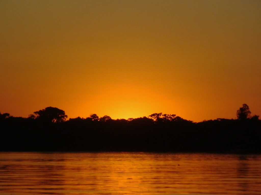 sunset on the Cristalino River in Brazil