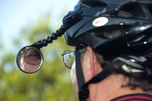 Bicyclist Looking in Mirror