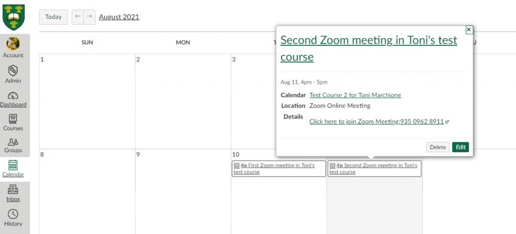 Screenshot showing how students can join a Zoom meeting through the Zoom Meetings link