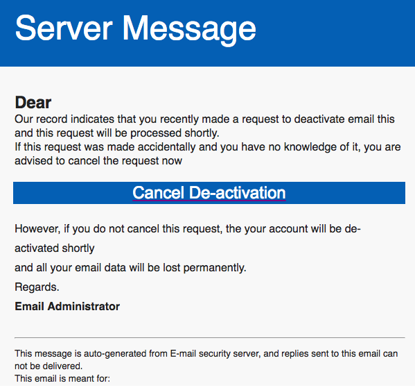 Deactivation Of Your Email Account | Phishing Alerts